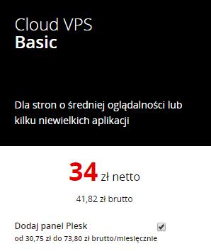Panel Plesk możesz dodać podczas pierwszego kroku zamówienia serwera VPS.