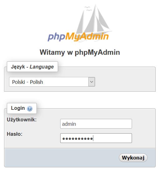 Dostęp do panelu phpMyAdmin